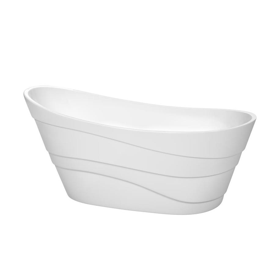 Wyndham Collection Kari 67.25-in White Acrylic Freestanding Bathtub with Right-Hand Drain