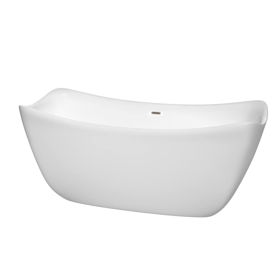 Wyndham Collection Don67-in White Acrylic Freestanding Bathtub with Center Drain