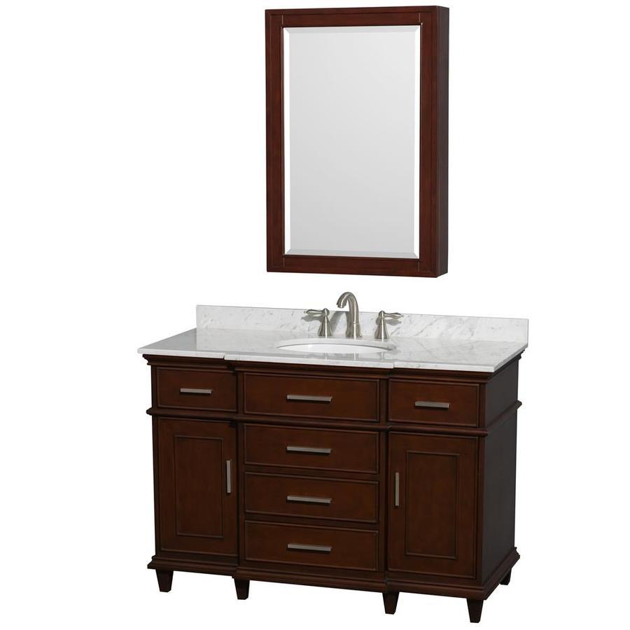 Wyndham Collection Berkeley Dark Chestnut Undermount Single Sink Bathroom Vanity with Natural Marble Top (Common: 48-in x 23-in; Actual: 48-in x 22.5-in)