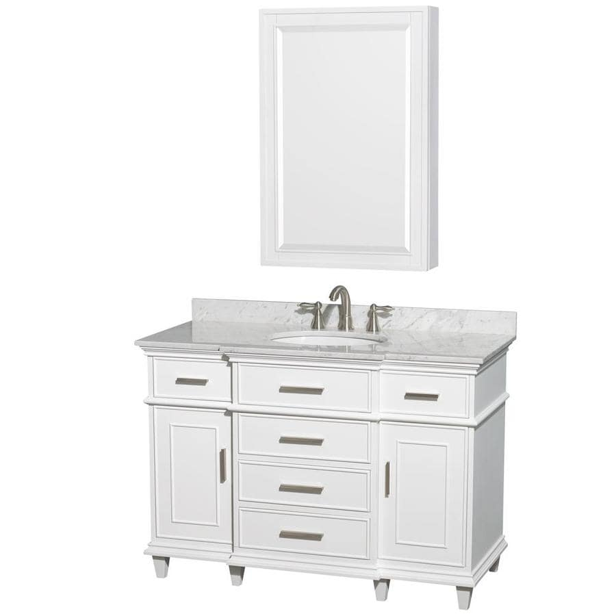 Wyndham Collection Berkeley White Undermount Single Sink Bathroom Vanity with Natural Marble Top (Common: 48-in x 23-in; Actual: 48-in x 22.5-in)