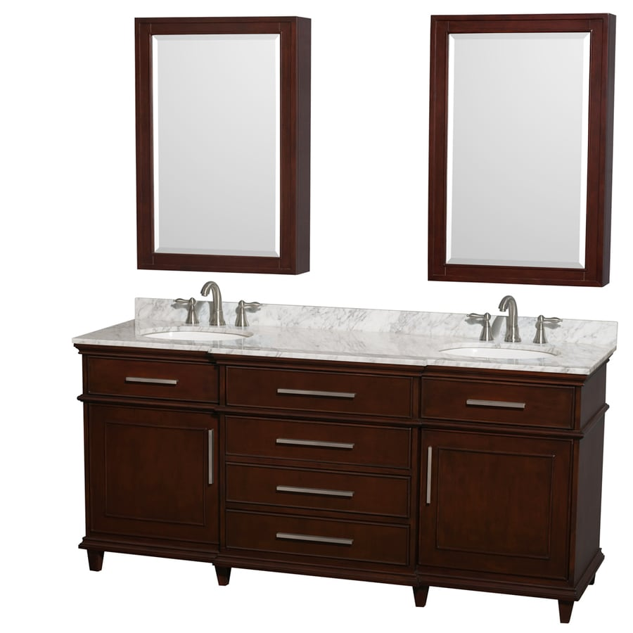 Wyndham Collection Berkeley Dark Chestnut Undermount Double Sink Bathroom Vanity with Natural Marble Top (Common: 72-in x 23-in; Actual: 72-in x 22.5-in)