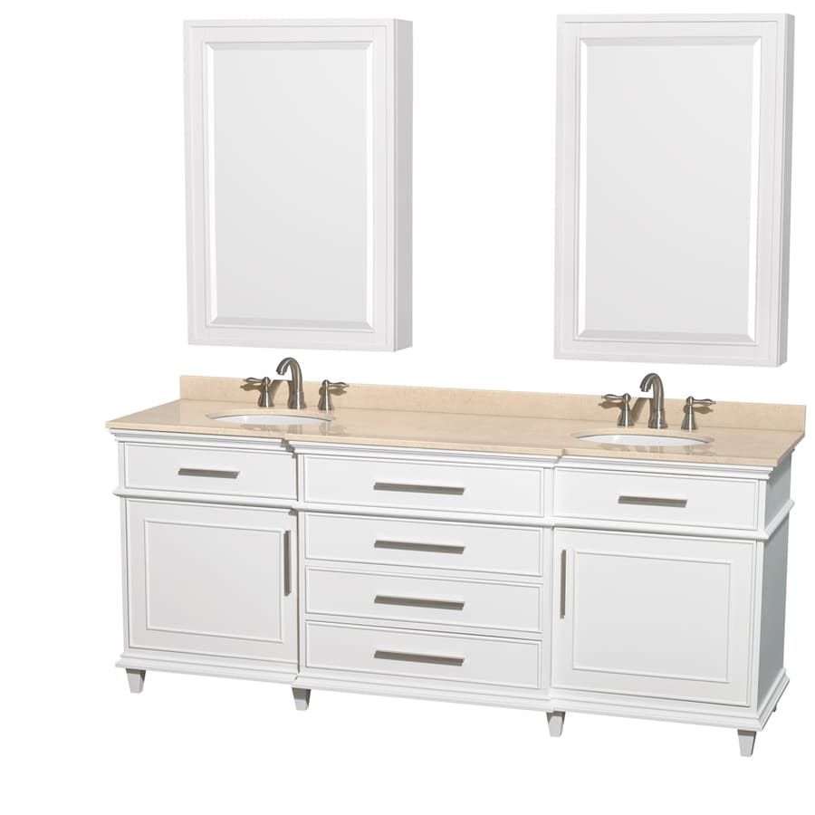 Wyndham Collection Berkeley White Undermount Double Sink Bathroom Vanity with Natural Marble Top (Common: 80-in x 23-in; Actual: 80-in x 22.5-in)