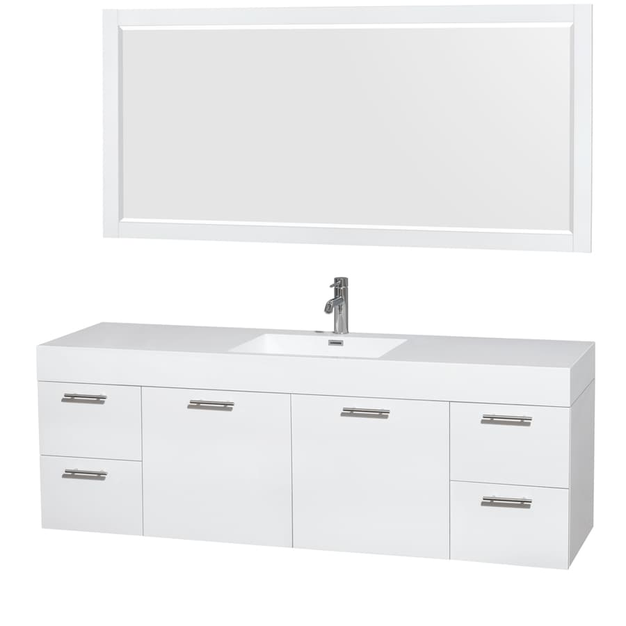 Wyndham Collection Amare Glossy White (Common: 72-in x 22-in) Vessel Single Sink Bathroom Vanity with Acrylic Top (Mirror Included) (Actual: 71.75-in x 21.75-in)
