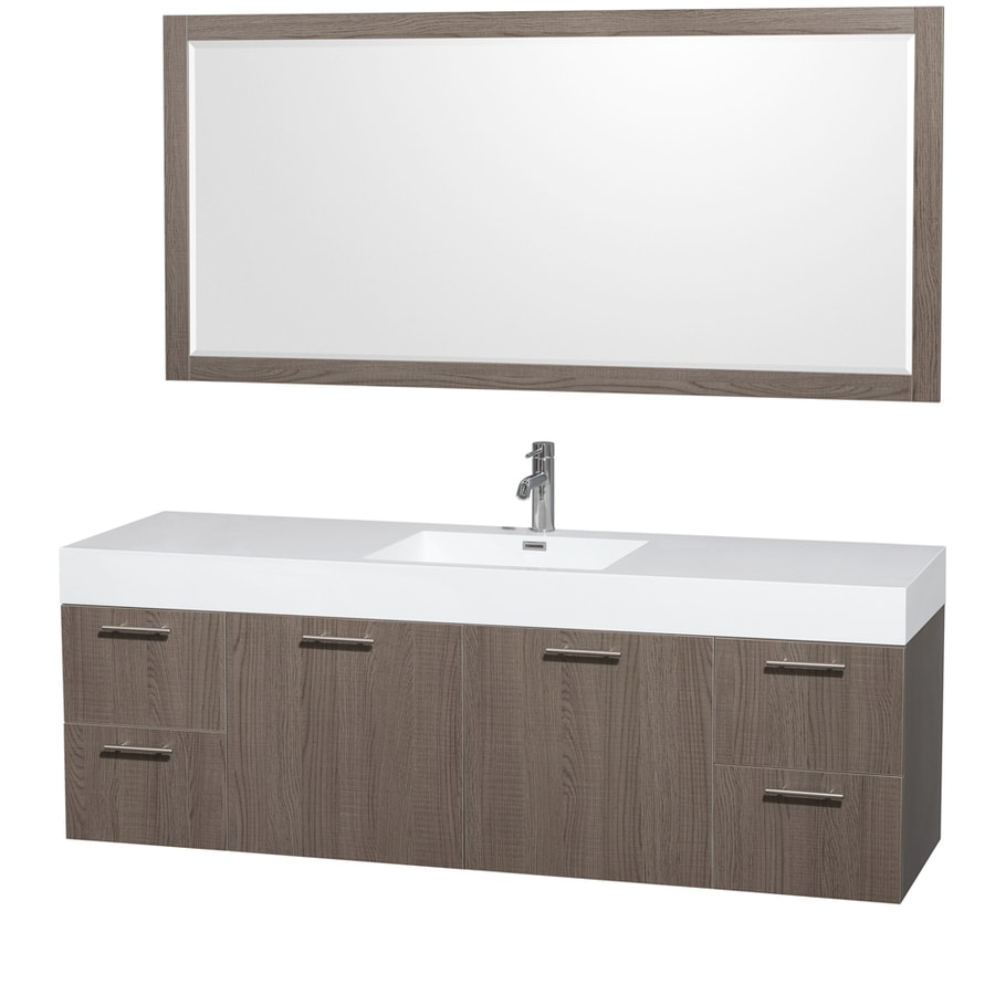 Wyndham Collection Amare Grey Oak Single Vessel Sink Bathroom Vanity with Acrylic Top (Common: 72-in x 22-in; Actual: 71.75-in x 21.75-in)