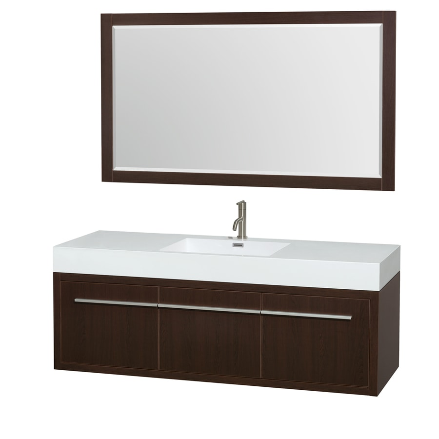 Wyndham Collection Axa Espresso Integrated Single Sink Bathroom Vanity with Acrylic Top (Common: 60-in x 22-in; Actual: 60-in x 21.75-in)