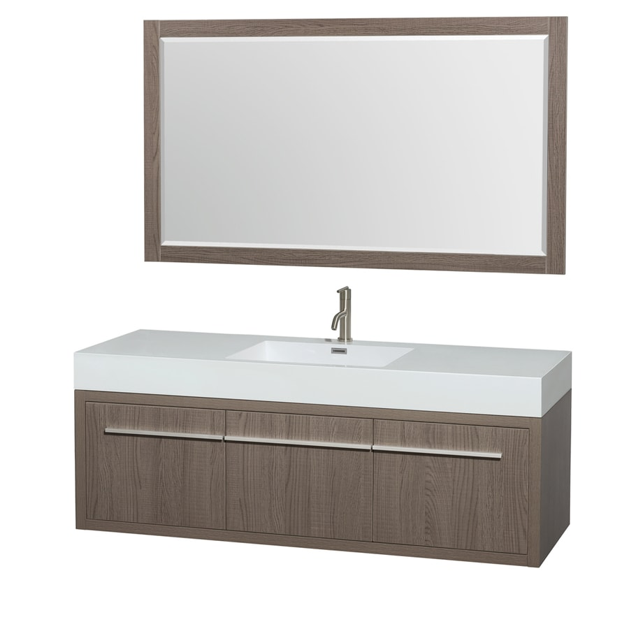 Wyndham Collection Axa Grey Oak (Common: 60-in x 22-in) Integral Single Sink Bathroom Vanity with Acrylic Top (Mirror Included) (Actual: 60-in x 21.75-in)