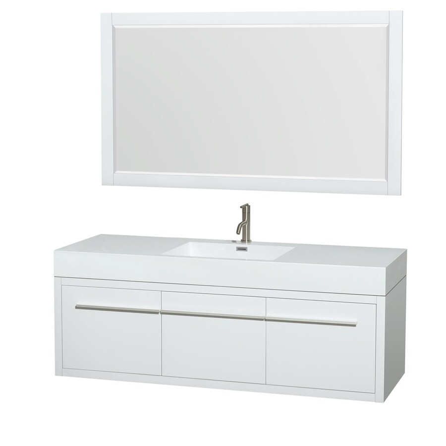 Wyndham Collection Axa Glossy White Integrated Single Sink Bathroom Vanity with Acrylic Top (Common: 60-in x 22-in; Actual: 60-in x 21.75-in)