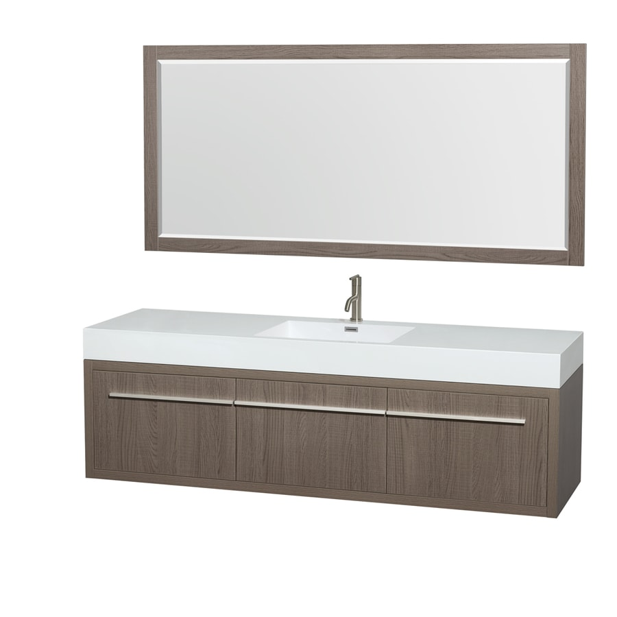 Wyndham Collection Axa Grey Oak Integrated Single Sink Bathroom Vanity with Acrylic Top (Common: 72-in x 22-in; Actual: 72-in x 21.75-in)