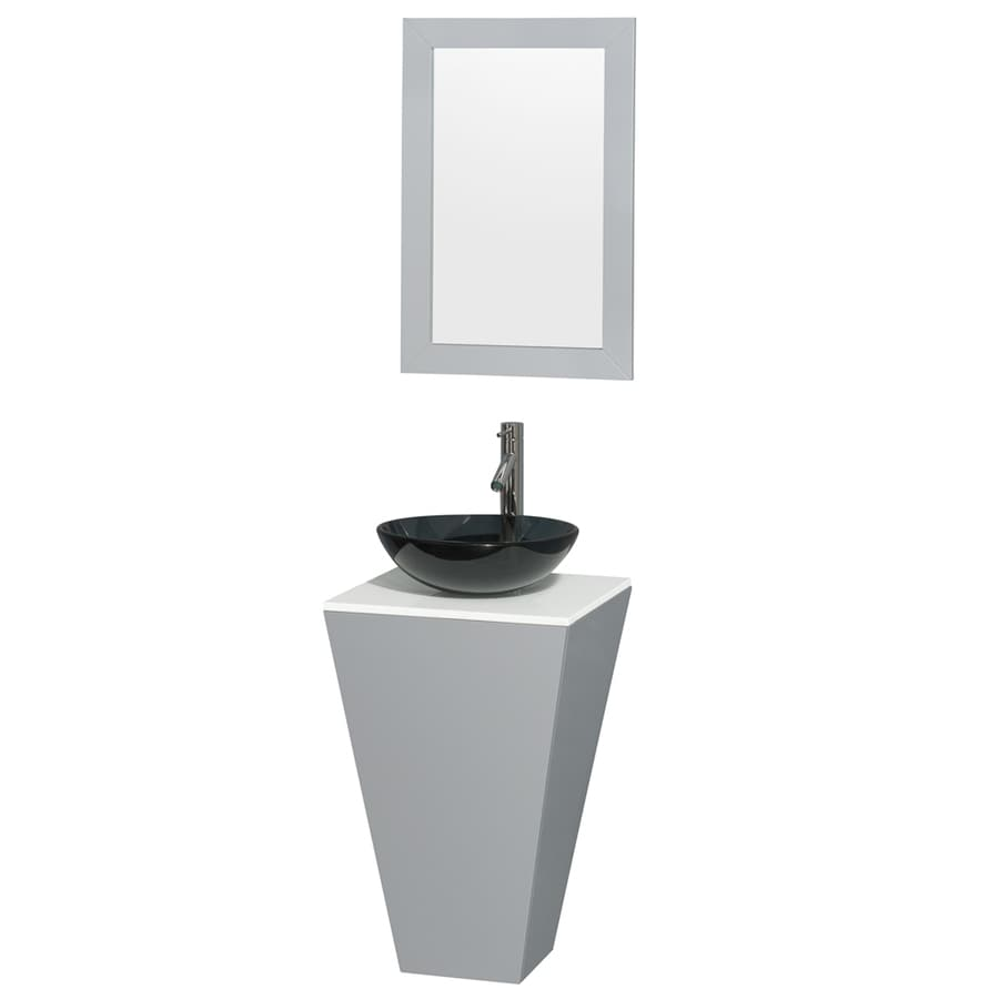 Wyndham Collection Esprit Gray (Common: 20-in x 20-in) Vessel Single Sink Bathroom Vanity with Engineered Stone Top (Mirror Included) (Actual: 20-in x 20-in)