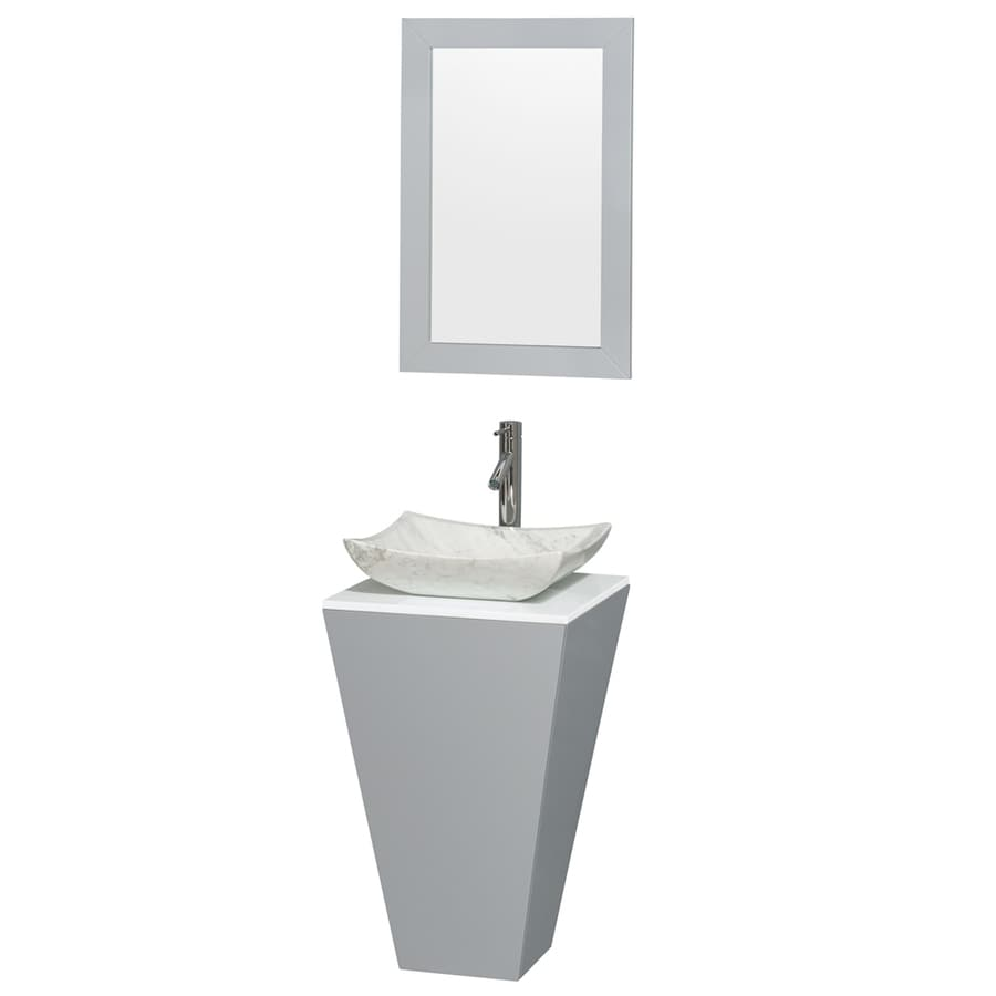Wyndham Collection Esprit Gray 20-in Vessel Single Sink Bathroom Vanity with Engineered Stone Top (Mirror Included)