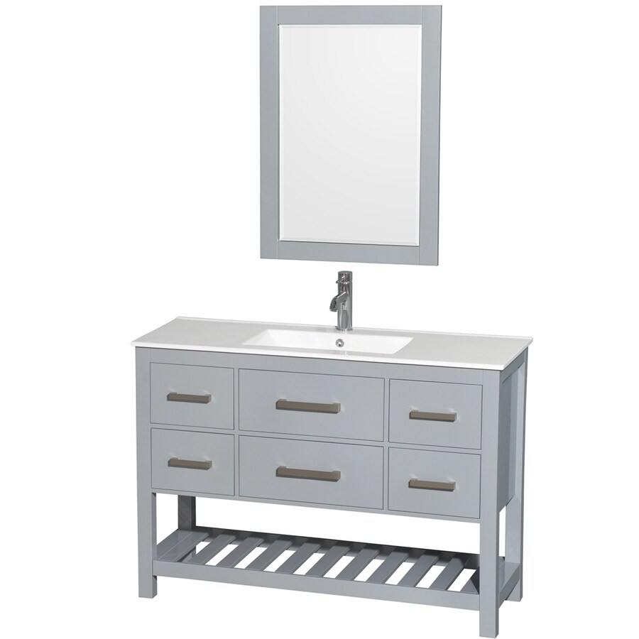 Wyndham Collection Natalie Gray Single Sink Vanity with White Vitreous China Top (Common: 48