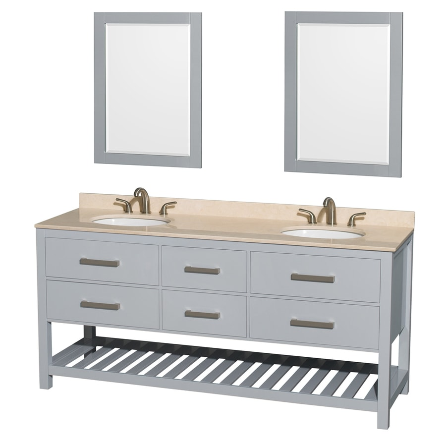 Wyndham Collection Natalie Gray Undermount Double Sink Bathroom Vanity with Natural Marble Top (Common: 72-in x 22-in; Actual: 72-in x 22-in)