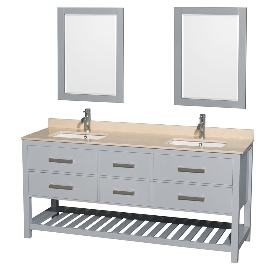 Wyndham Collection Natalie Gray 72-in Undermount Double Sink Birch Bathroom Vanity with Natural Marble Top (Mirror Included)
