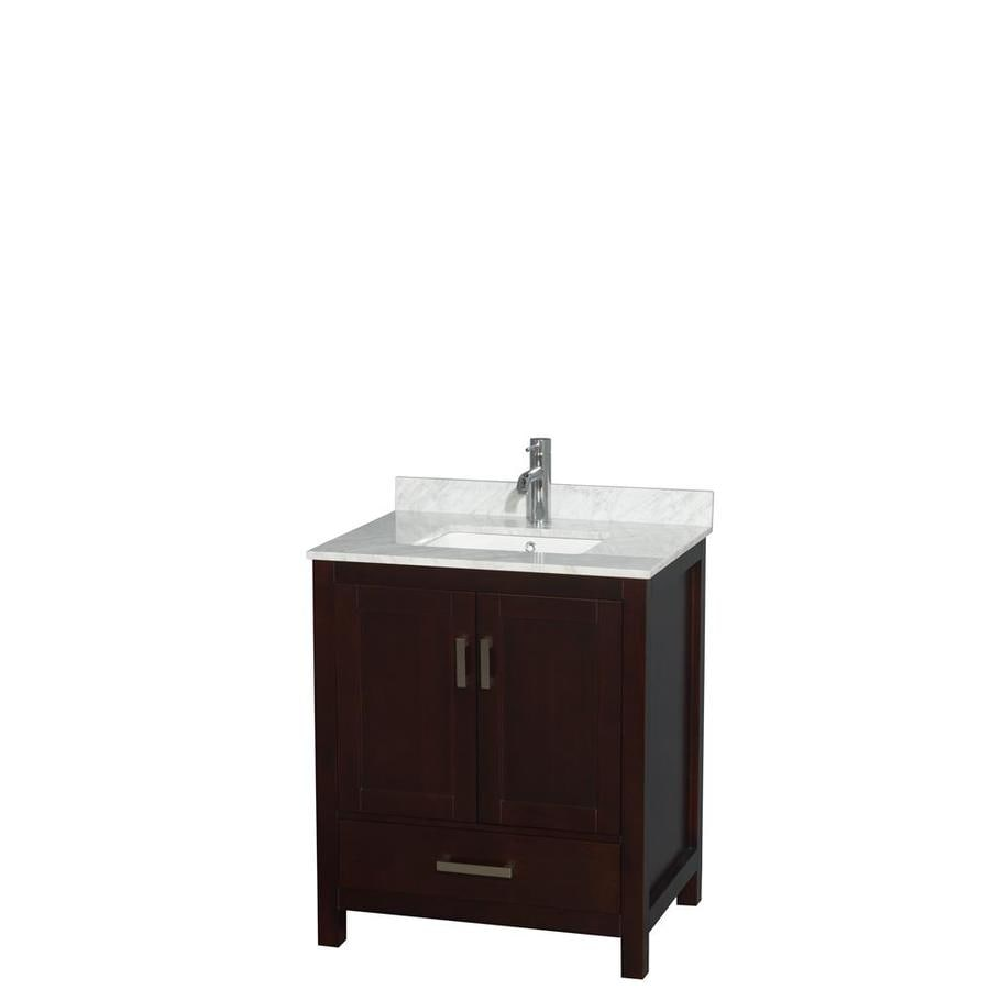Wyndham Collection Sheffield Espresso (Common: 30-in x 22-in) Undermount Single Sink Birch Bathroom Vanity with Natural Marble Top (Actual: 30-in x 22-in)