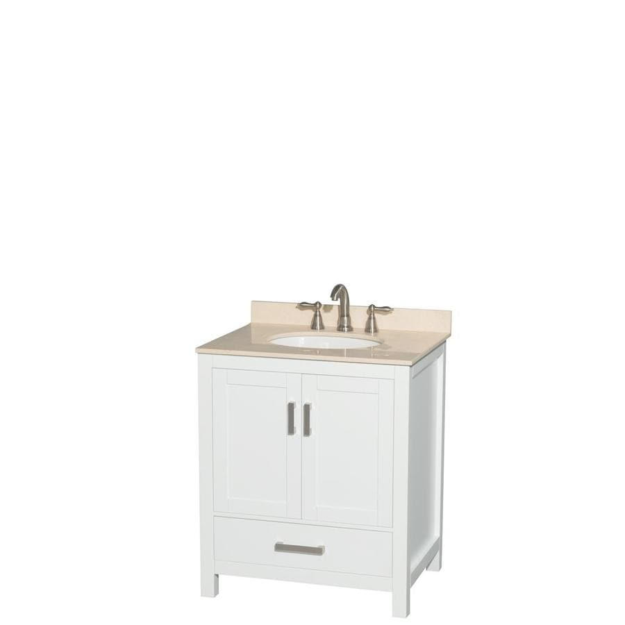 Wyndham Collection Sheffield White Undermount Single Sink Bathroom Vanity with Natural Marble Top (Common: 30-in x 22-in; Actual: 30-in x 22-in)