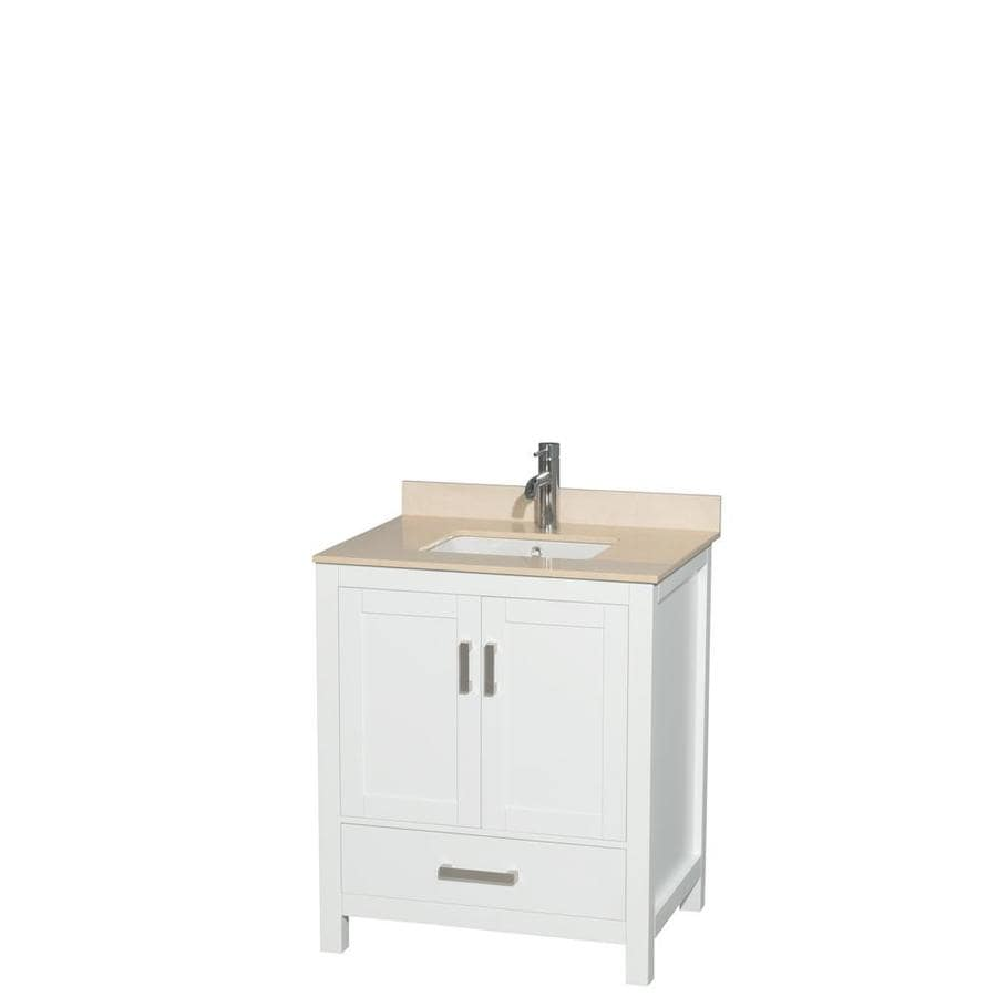 Wyndham Collection Sheffield White 30-in Undermount Single Sink Birch Bathroom Vanity with Natural Marble Top