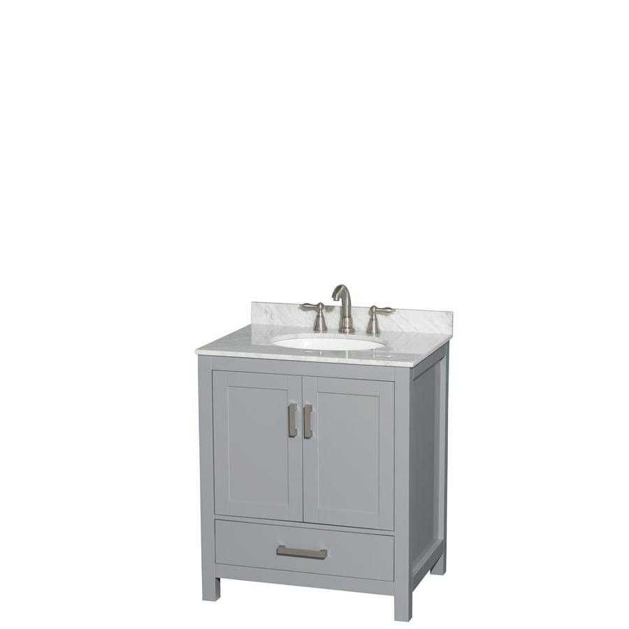 Wyndham Collection Sheffield Gray Undermount Single Sink Bathroom Vanity with Natural Marble Top (Common: 30-in x 22-in; Actual: 30-in x 22-in)
