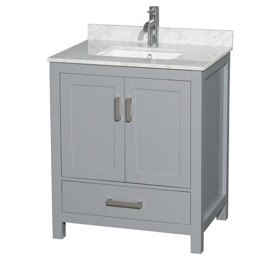 Shop wyndham collection sheffield gray undermount single for Single bathroom vanity