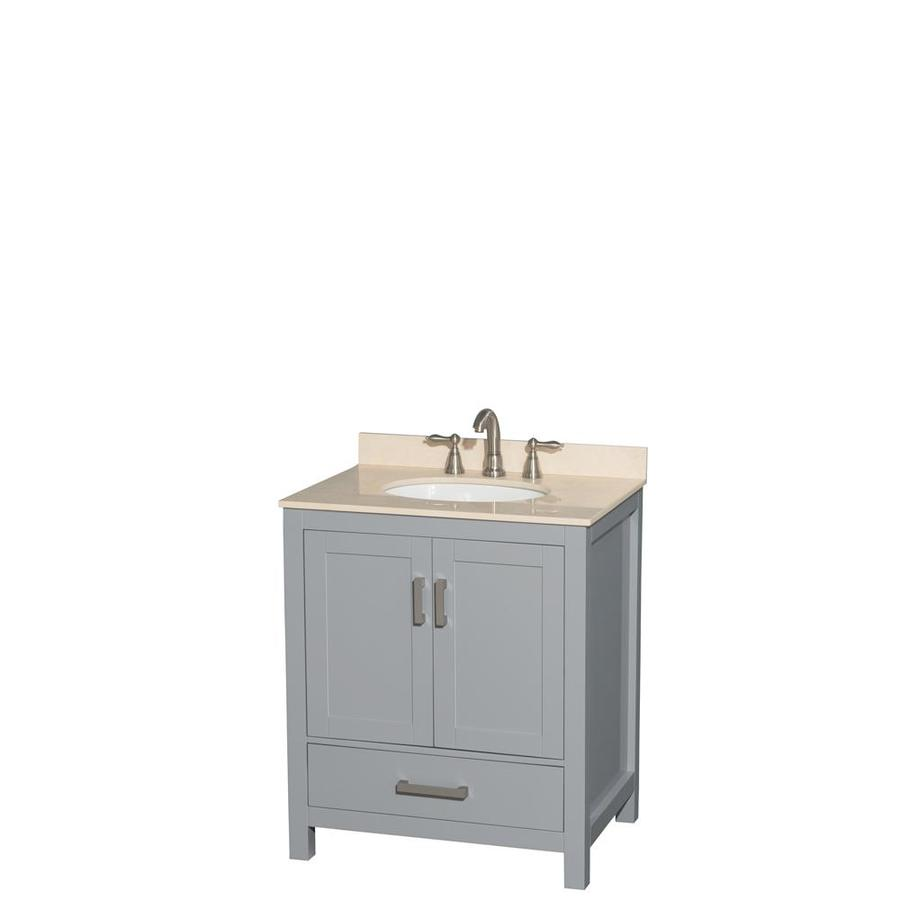 Wyndham Collection Sheffield Gray (Common: 30-in x 22-in) Undermount Single Sink Birch Bathroom Vanity with Natural Marble Top (Actual: 30-in x 22-in)