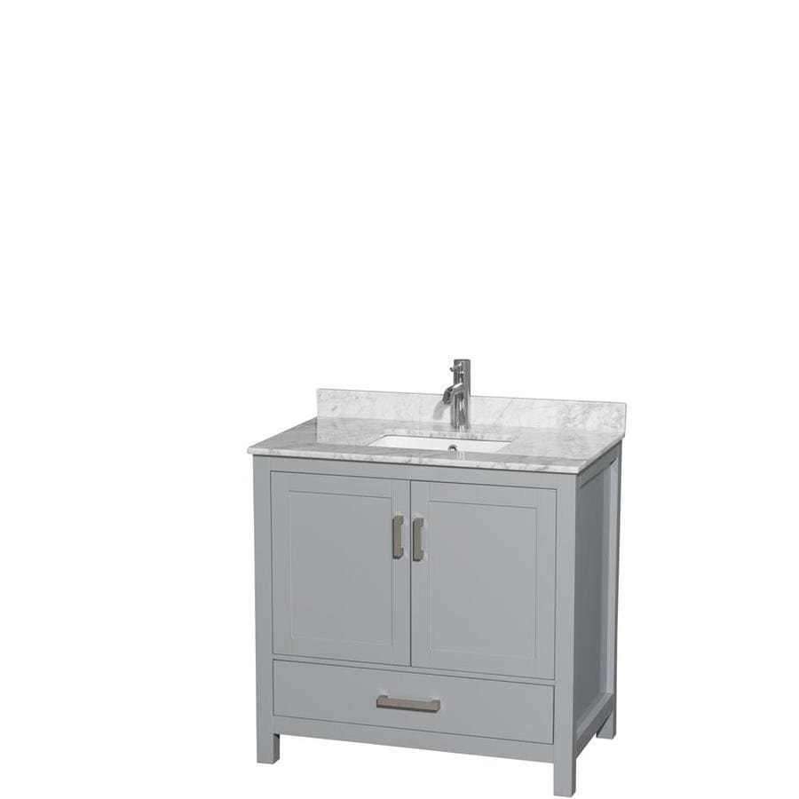 Wyndham Collection Sheffield Gray Undermount Single Sink Bathroom Vanity with Natural Marble Top (Common: 36-in x 22-in; Actual: 36-in x 22-in)