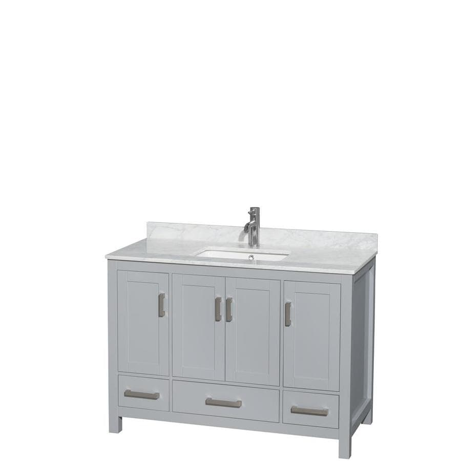 Wyndham Collection Sheffield Gray 48-in Undermount Single Sink Birch Bathroom Vanity with Natural Marble Top