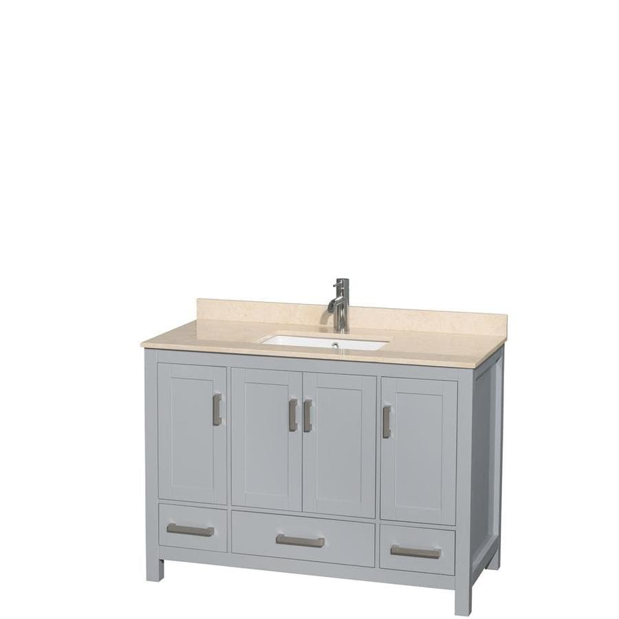 Wyndham Collection Sheffield Gray (Common: 48-in x 22-in) Undermount Single Sink Birch Bathroom Vanity with Natural Marble Top (Actual: 48-in x 22-in)