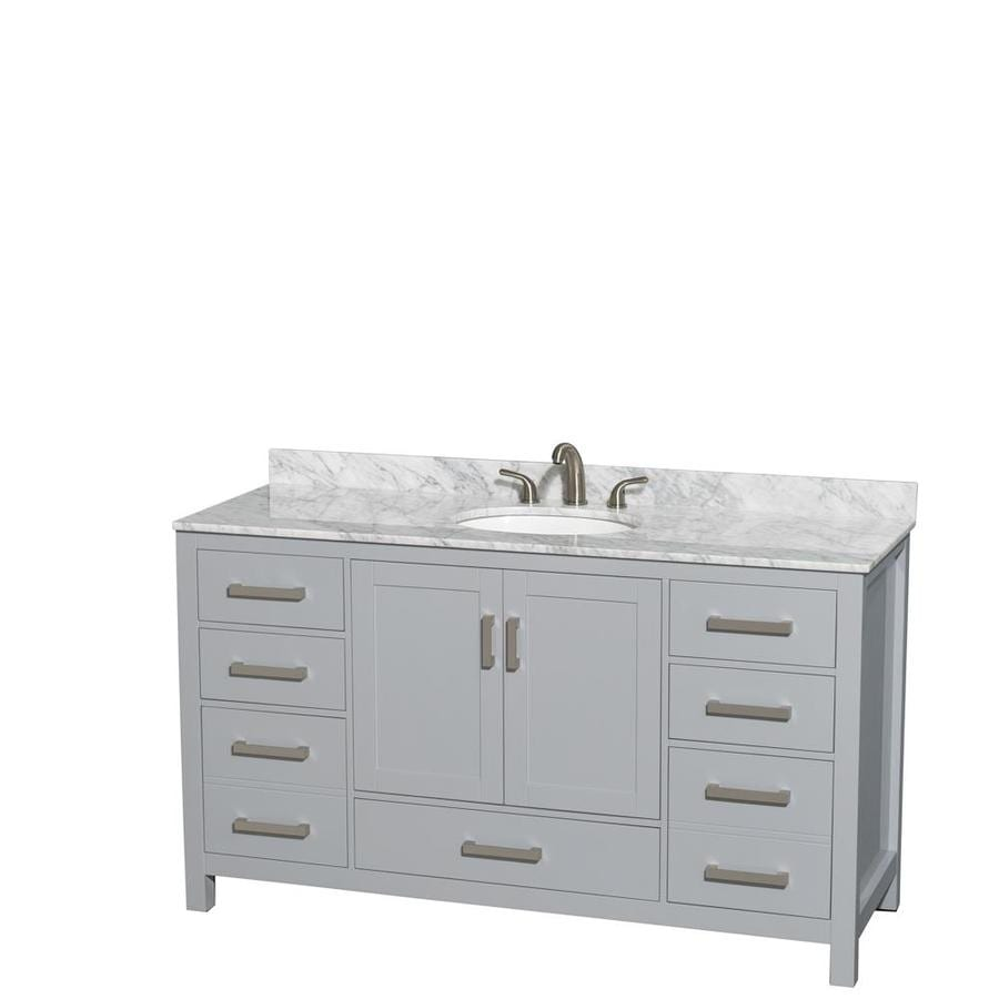 Wyndham Collection Sheffield 60 In Gray Single Sink