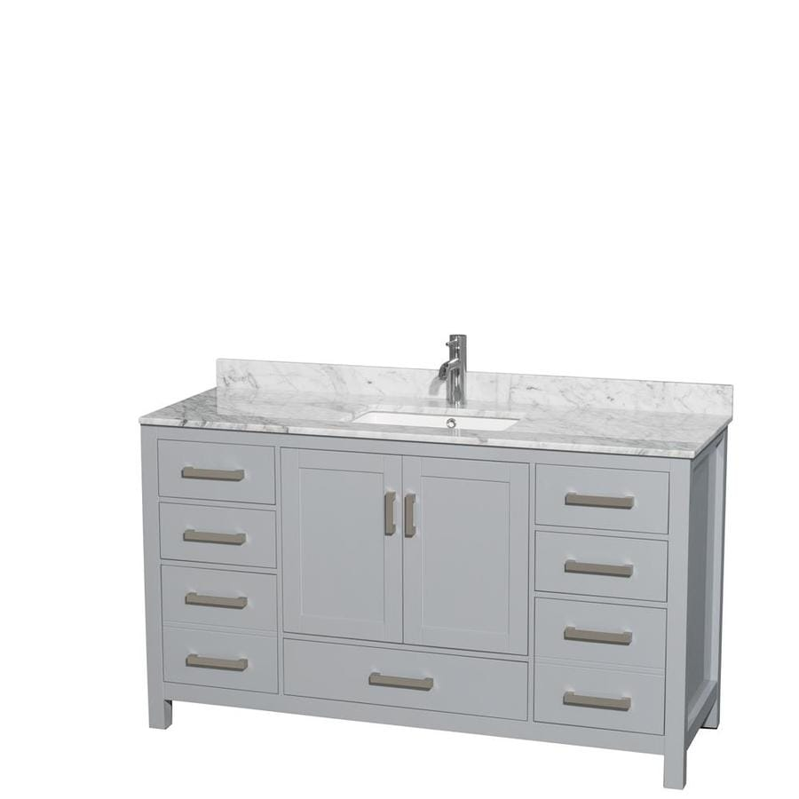 Wyndham Collection Sheffield Gray Single Sink Vanity With White Carrera Natural Marble Top Common