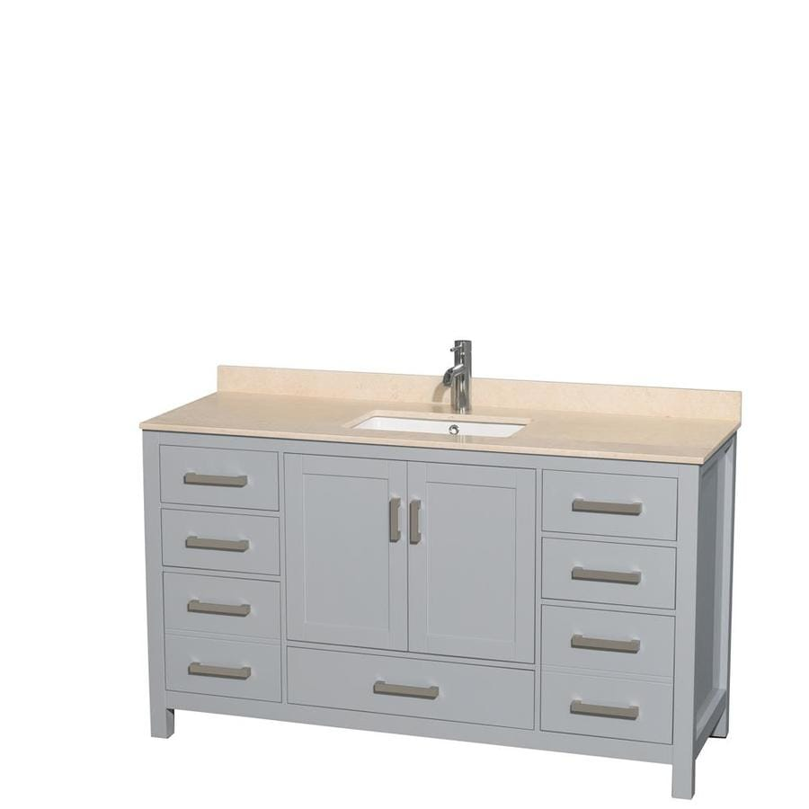 Wyndham Collection Sheffield Gray 60-in Undermount Single Sink Birch Bathroom Vanity with Natural Marble Top