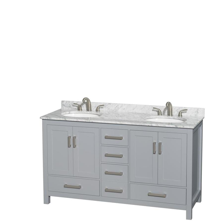 Wyndham Collection Sheffield Gray Undermount Double Sink Bathroom Vanity with Natural Marble Top (Common: 60-in x 22-in; Actual: 60-in x 22-in)