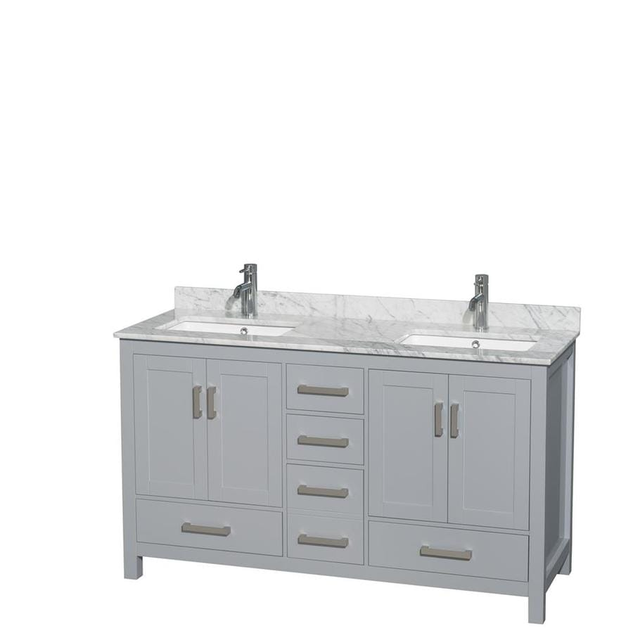 Wyndham Collection Sheffield Gray Double Sink Vanity With White Carrera  Natural Marble Top (Common: