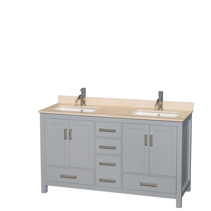 Wyndham Collection Sheffield Gray 60-in Undermount Double Sink Birch Bathroom Vanity with Natural Marble Top