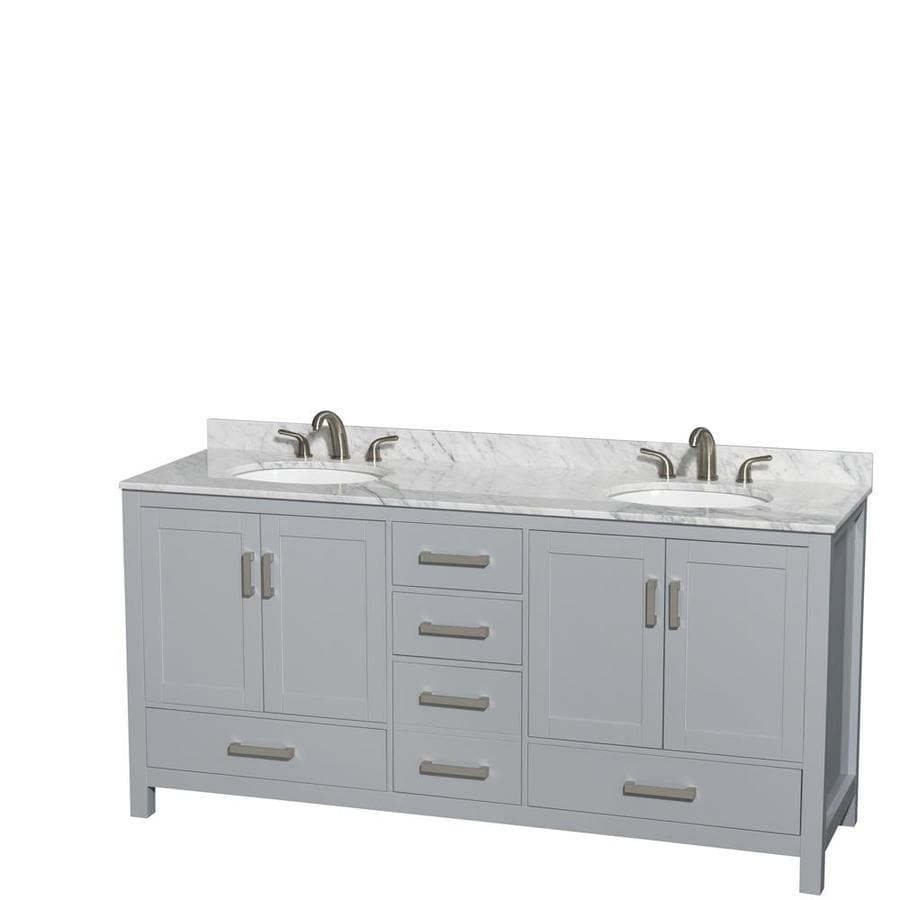 Wyndham Collection Sheffield Gray Undermount Double Sink Bathroom Vanity with Natural Marble Top (Common: 72-in x 22-in; Actual: 72-in x 22-in)