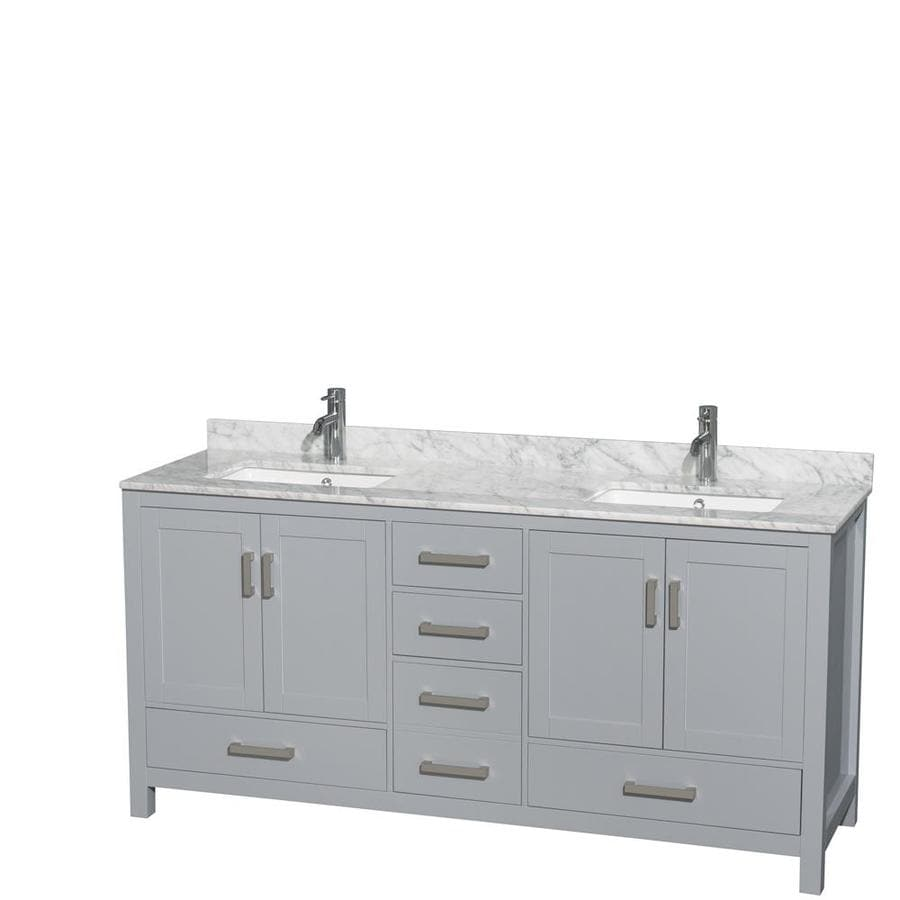 Shop Wyndham Collection Sheffield Gray 72 In Undermount Double Sink Birch Bat