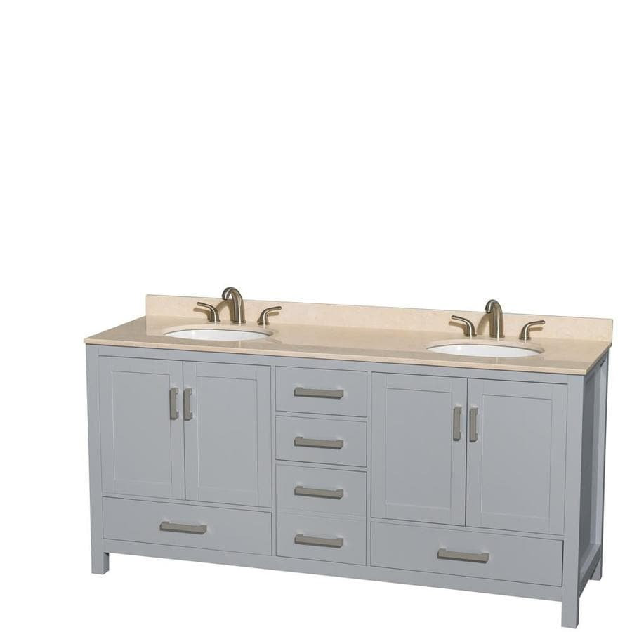 Wyndham Collection Sheffield Gray 72-in Undermount Double Sink Birch Bathroom Vanity with Natural Marble Top