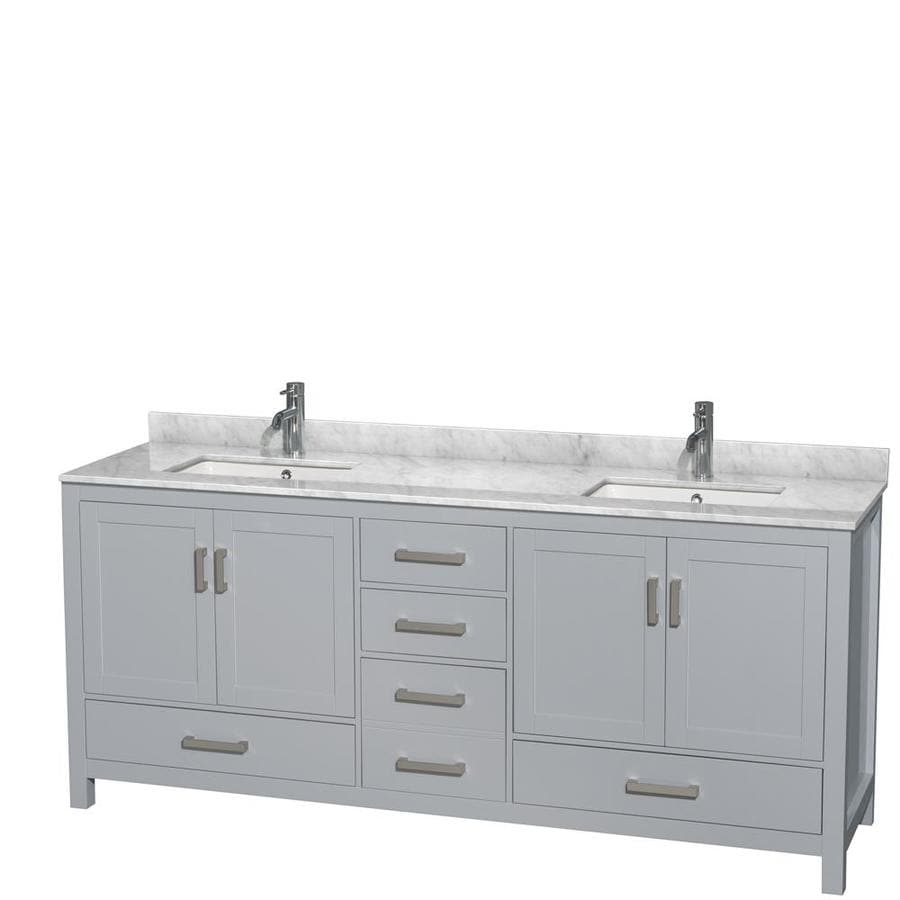 Shop wyndham collection sheffield gray undermount double sink bathroom vanity with natural for Gray bathroom vanity with top