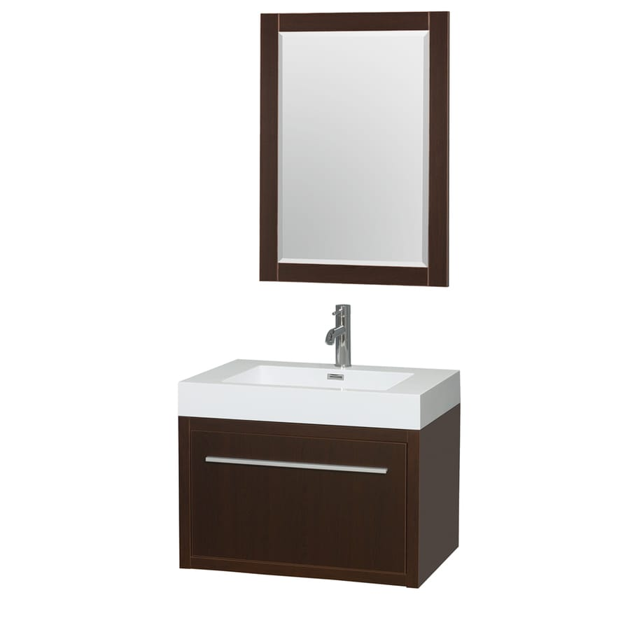 Wyndham Collection Axa Espresso 29-in Integral Single Sink Bathroom Vanity with Acrylic Top (Mirror Included)