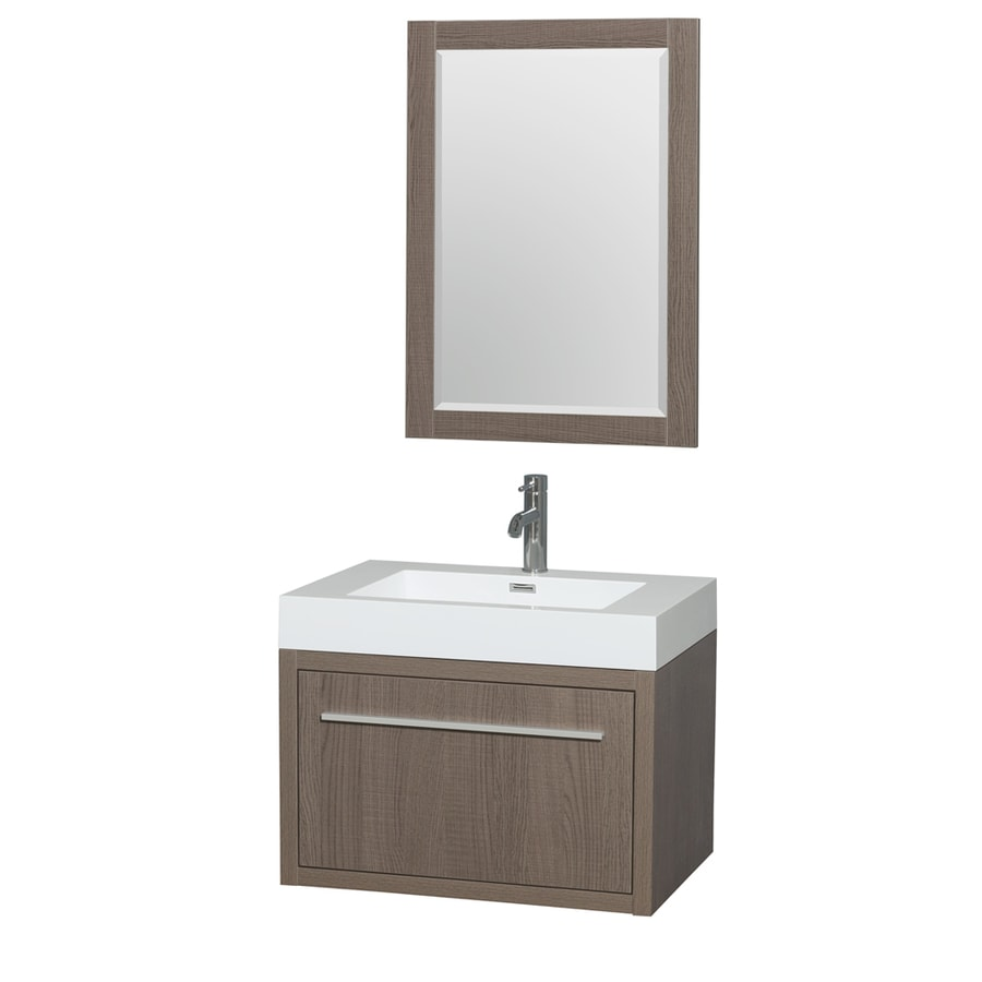Wyndham Collection Axa Gray Oak 29-in Integral Single Sink Bathroom Vanity with Acrylic Top (Mirror Included)