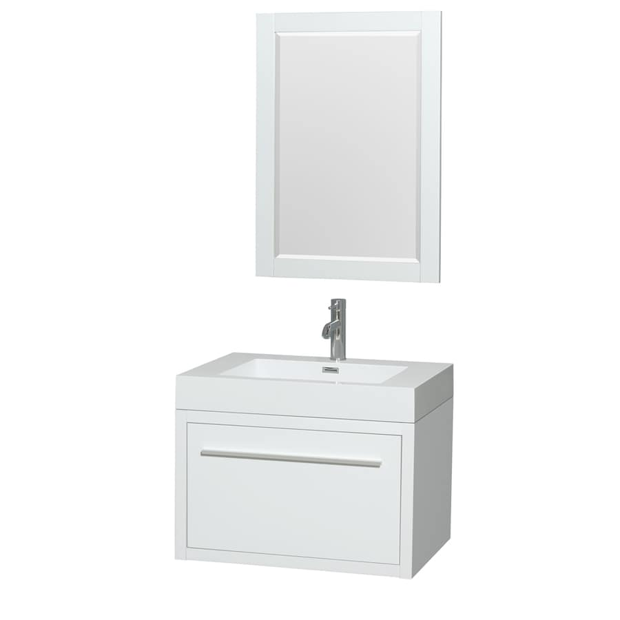 Wyndham Collection Axa Glossy White 29-in Integral Single Sink Bathroom Vanity with Acrylic Top (Mirror Included)
