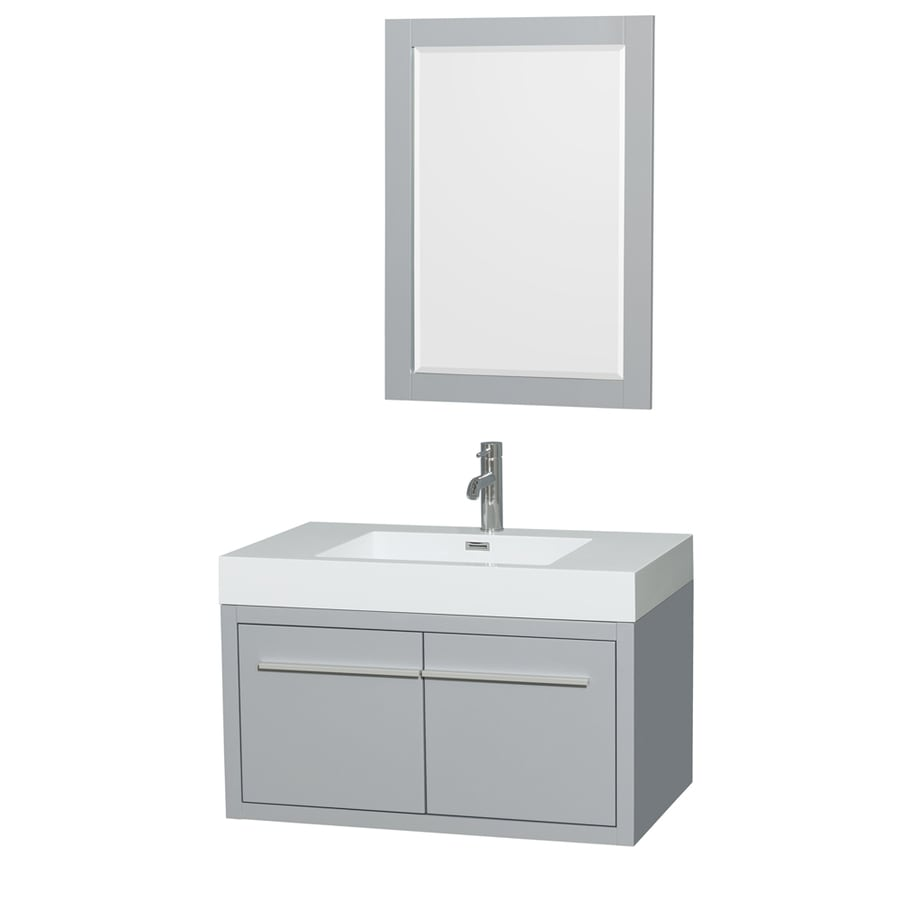 Wyndham Collection Axa Dove Gray 35-in Integral Single Sink Bathroom Vanity with Acrylic Top (Mirror Included)