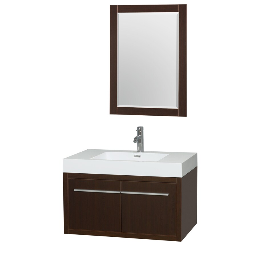Wyndham Collection Axa Espresso 35-in Integral Single Sink Bathroom Vanity with Acrylic Top (Mirror Included)