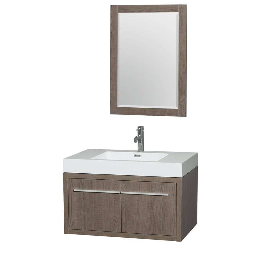 Wyndham Collection Axa Gray Oak 35-in Integral Single Sink Bathroom Vanity with Acrylic Top (Mirror Included)