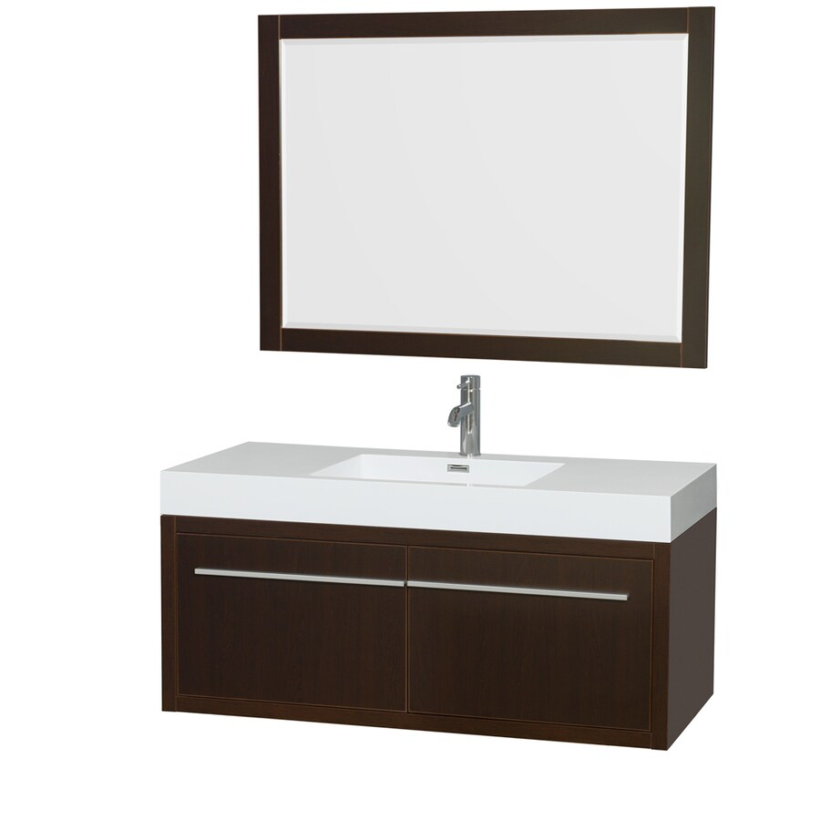 Wyndham Collection Axa Espresso (Common: 48-in x 21-in) Integral Single Sink Bathroom Vanity with Acrylic Top (Mirror Included) (Actual: 47-in x 21-in)