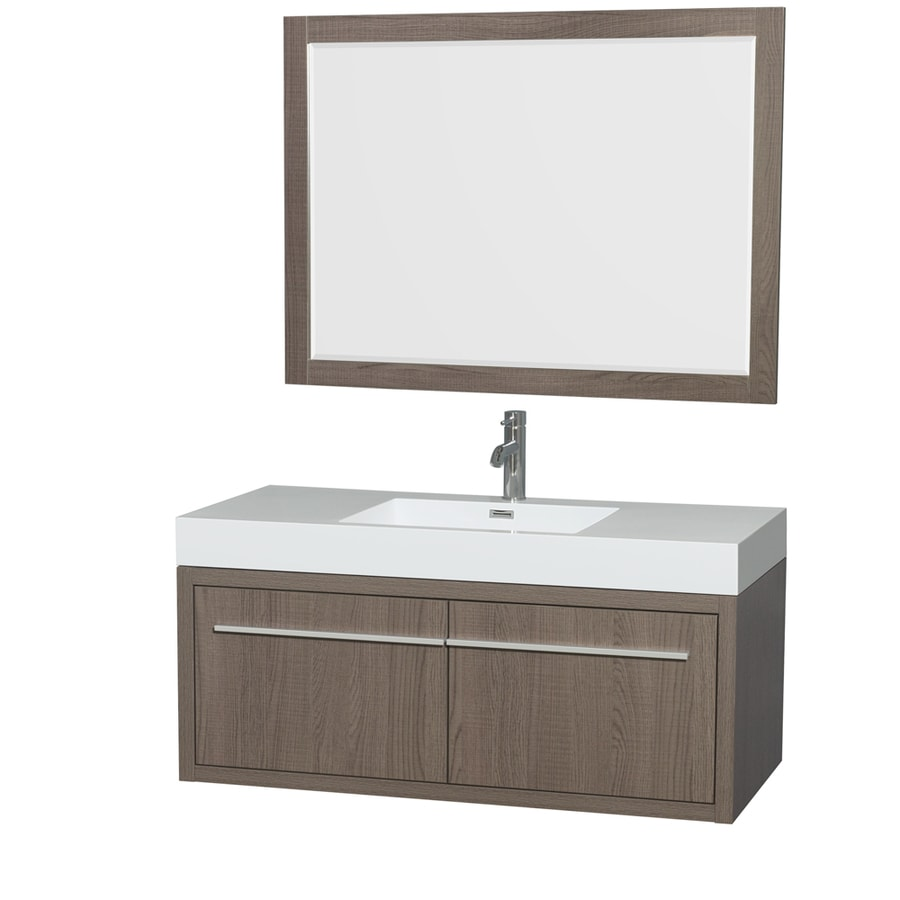 Wyndham Collection Axa Gray Oak 47-in Integral Single Sink Bathroom Vanity with Acrylic Top (Mirror Included)