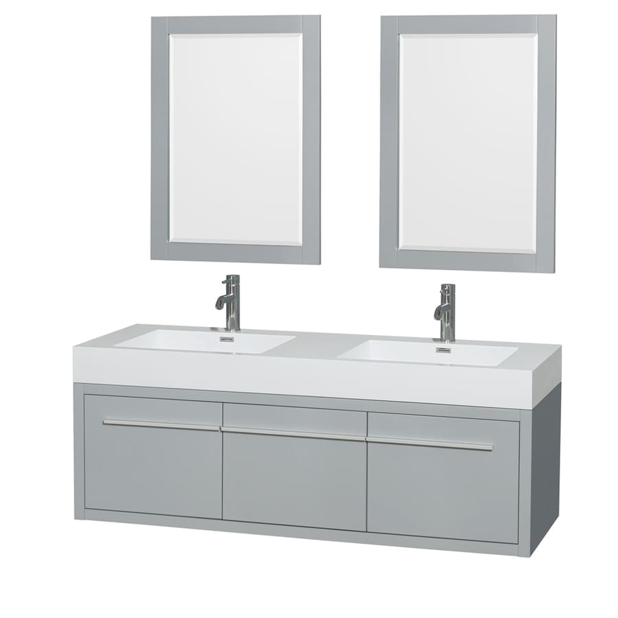 Wyndham Collection Axa Dove Gray 60-in Integral Double Sink Bathroom Vanity with Acrylic Top (Mirror Included)