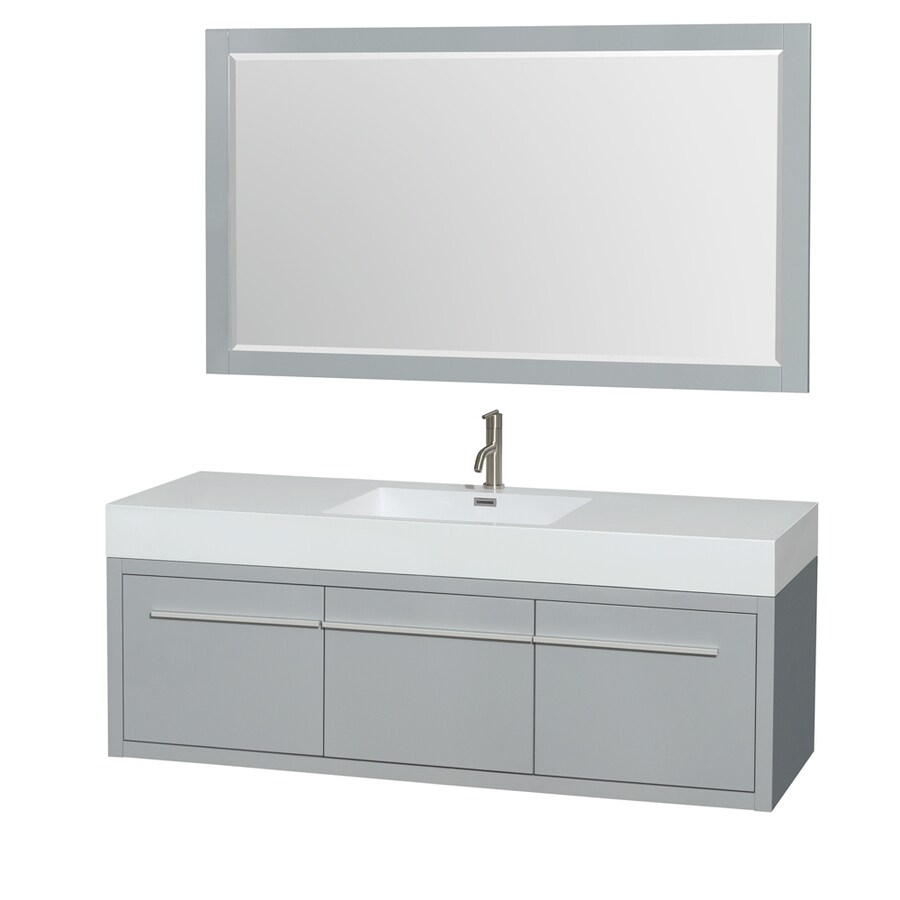 Wyndham Collection Axa Dove Gray Integrated Single Sink Bathroom Vanity with Acrylic Top (Common: 60-in x 22-in; Actual: 60-in x 21.75-in)