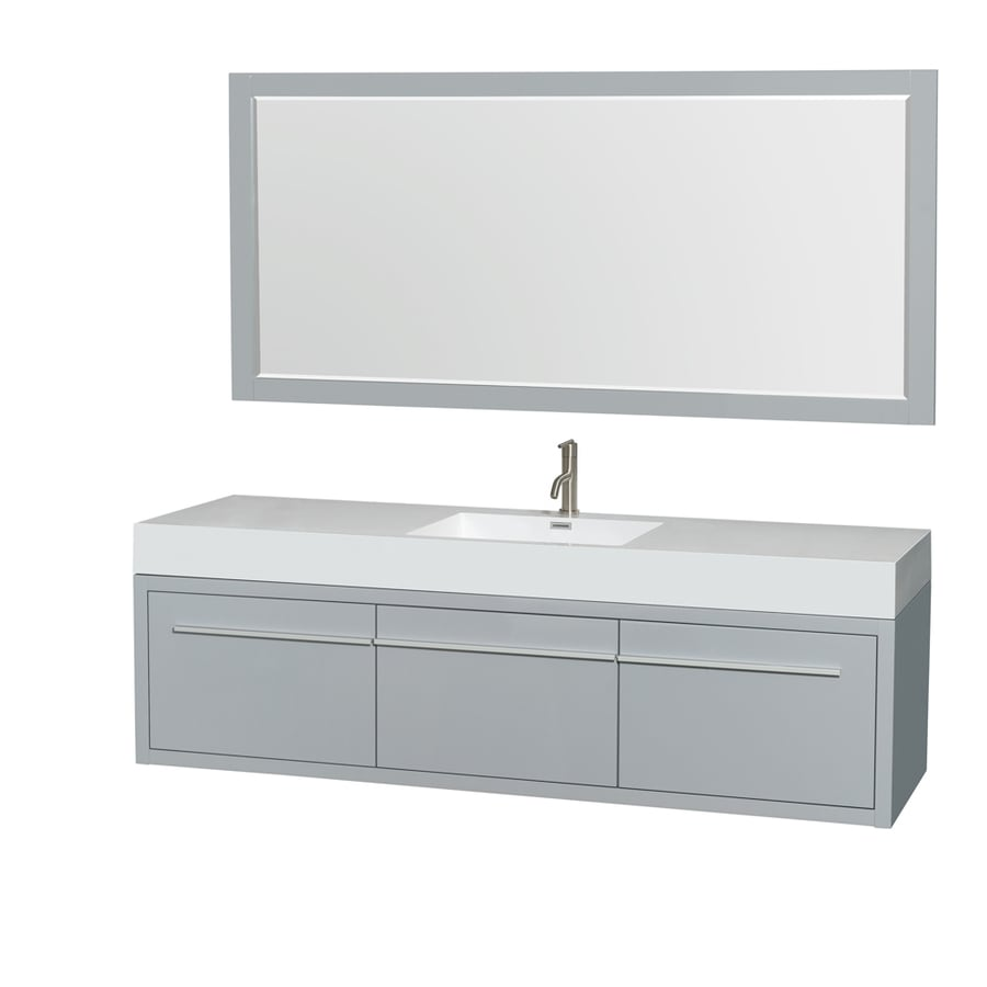 Wyndham Collection Axa Dove Gray 72-in Integral Single Sink Bathroom Vanity with Acrylic Top (Mirror Included)