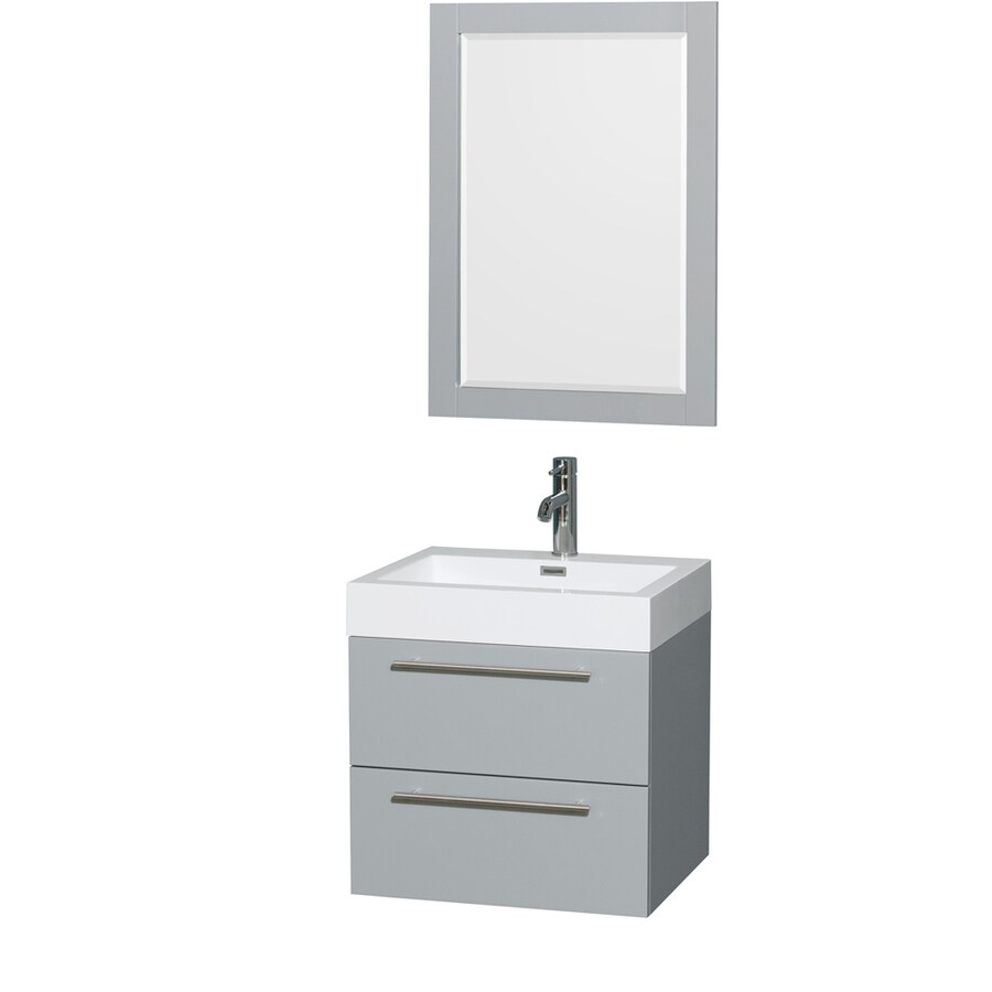 Wyndham Collection Amare Dove Gray (Common: 24-in x 19-in) Integral Single Sink Bathroom Vanity with Acrylic Top (Mirror Included) (Actual: 24-in x 19-in)