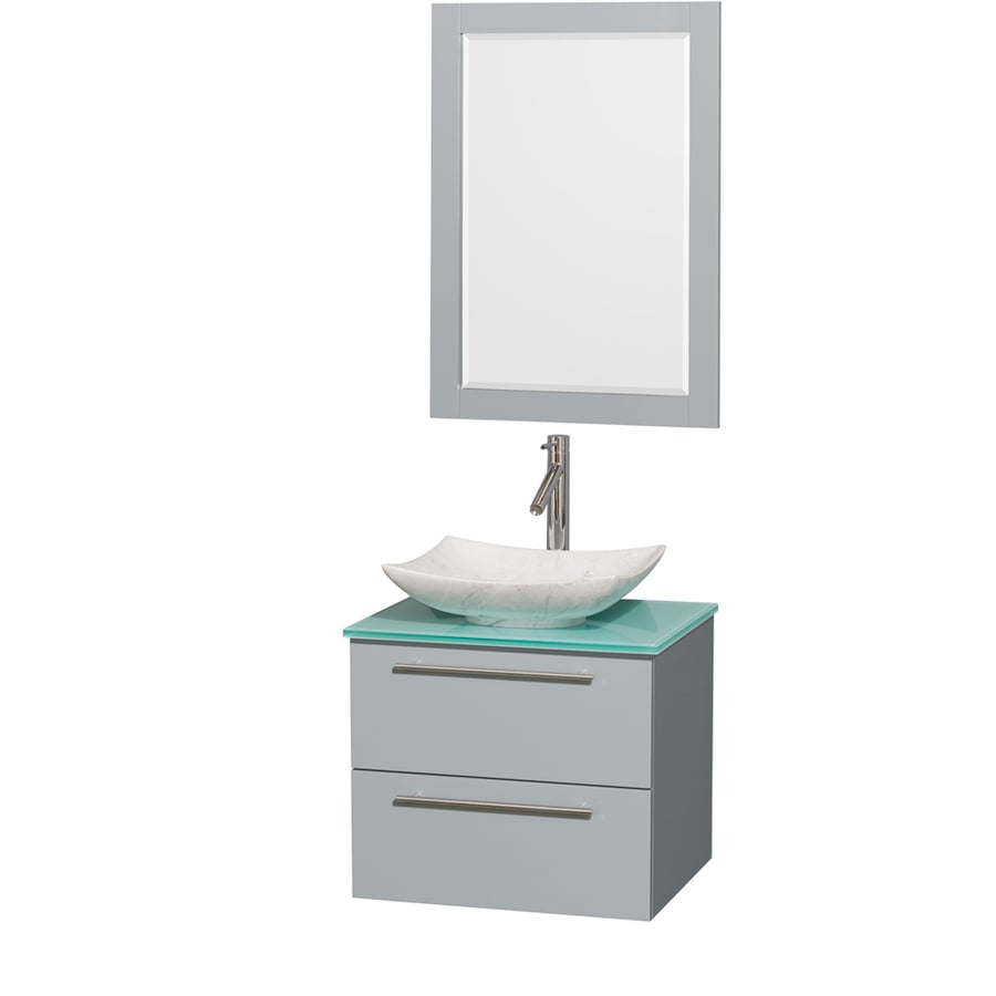 Wyndham Collection Amare Dove Gray (Common: 24-in x 20-in) Vessel Single Sink Bathroom Vanity with Tempered Glass and Glass Top (Mirror Included) (Actual: 24-in x 19.5-in)