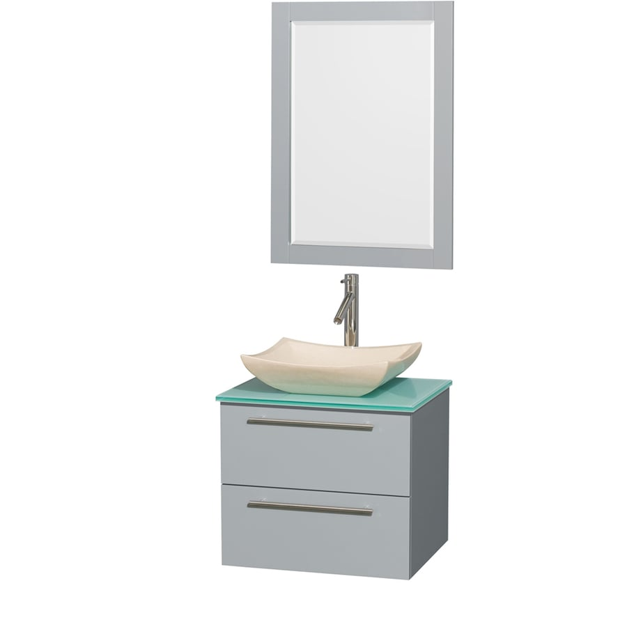 Wyndham Collection Amare Dove Gray Single Vessel Sink Bathroom Vanity with Tempered Glass and Glass Top (Common: 24-in x 20-in; Actual: 24-in x 19.5-in)